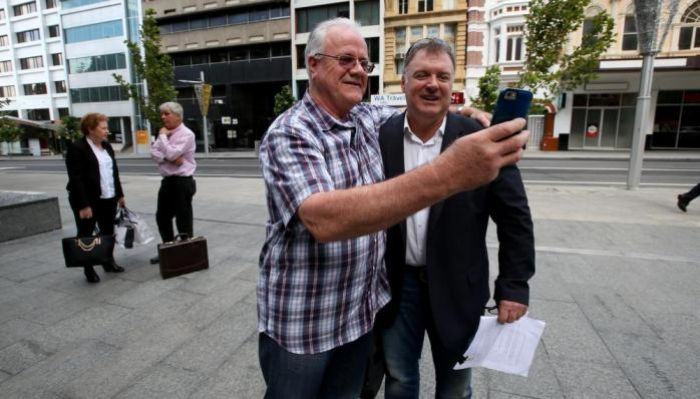 Senator Rod Culleton with friend Les Reid outside the Supreme Court. Picture: Sharon Smith