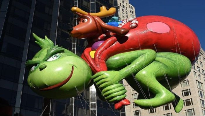 The Dr. Seuss Grinch balloon floats down Central Park West during the recent Macy's Thanksgiving Day Parade in New York City.
