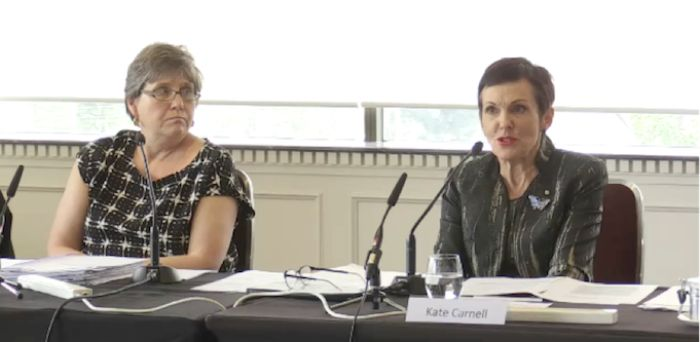Anne Scott and Kate Carnell during the ASBFEO hearings.