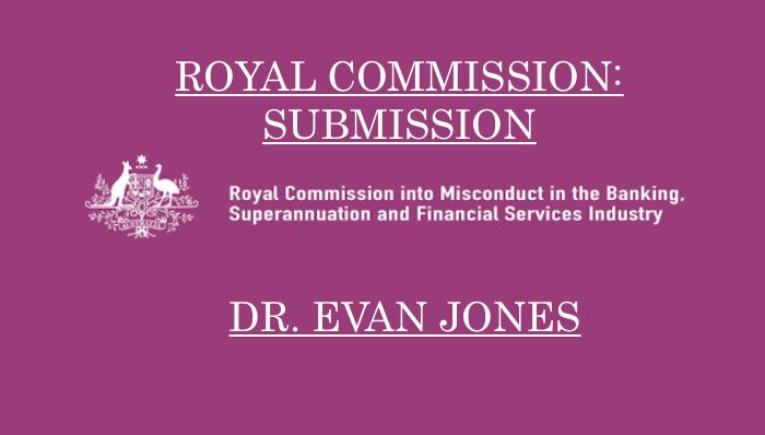 Submission to the Banking Etc Royal Commission