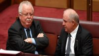 Nationals senators John Williams (right) and Barry O'Sullivan are prominent critics of banks' treatment of farmers.