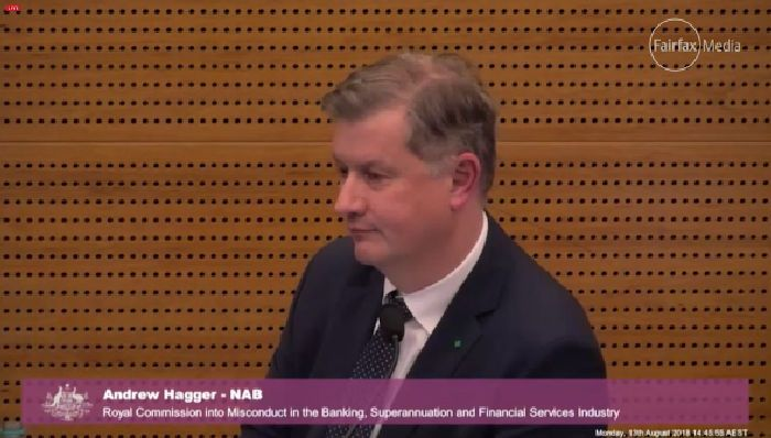 NAB's Andrew Hagger is pressed by Commissioner Kenneth Hayne QC on whether NAB was open and transparent about telling ASIC the full extent of likely compensation