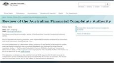 Treasury Review of the Australian Financial Complaints Authority